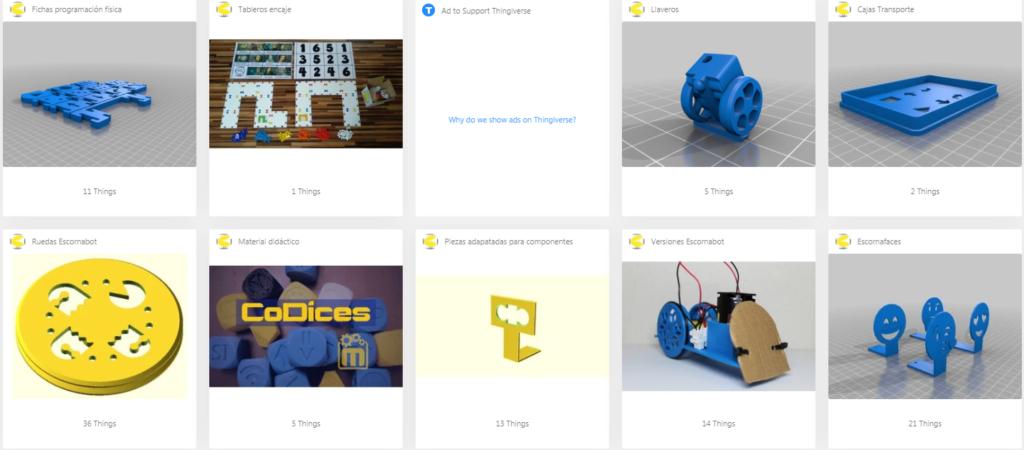 Visualización de la web con diseños de ruedas Escornabot