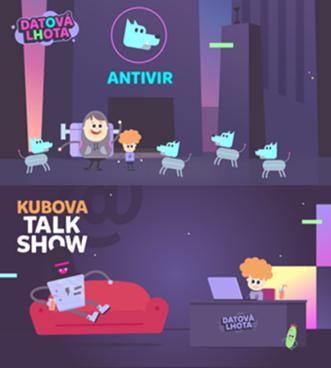"""Capturas del capítulo sobre virus informáticos de la serie de la televisión checa Data Newtown (arriba) y del """"Talk show"""" (abajo)"""