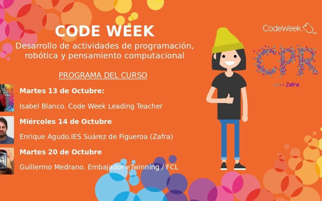 Curso Code Week 2020 Desarrollo de actividades de programación, robótica y pensamiento computacional en Zafra (Badajoz)