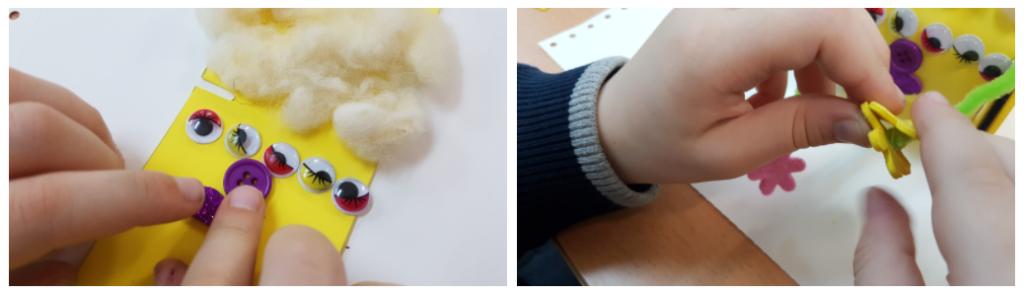 Dos imágenes. En la primera, detalle del disfraz: el pelo es lana, tiene 5 ojos, la nariz es un botón y la boca tiene forma de corazón. En la segunda imagen, brazos de limpiapipas y manos en forma de flor de gomaeva