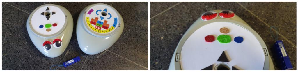 """Dos imágenes del robot Roamer. Como la botonera es visual, se colocó un disco con texturas. Además, en la versión """"Infantil"""" se colocaron ojos para destacar la parte delantera."""