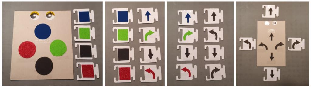 Se ven cuatro imágenes, en la primera de ellas se ve una botonera y fichas de programación con texturas. En la segunda, fichas de programación con texturas y flechas con las mismas texturas. En la tercera, fichas de programación con flechas con 4 texturas y flechas con las mismas formas de gomaeva. En la última, botonera y fichas de programación con flechas de gomaeva