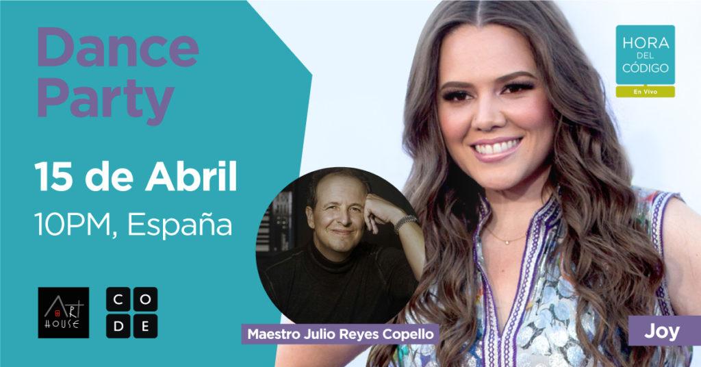 Banner de la Dance Party con una imagen de Joy y de Julio Reyes Copello