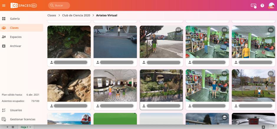 Imágen de la interfaz del rpofesor en la que se puede ver los proyectos de los alumnos