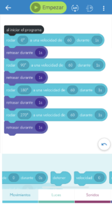 Bloques de programación en Sphero mini para que recorra el cuadrado