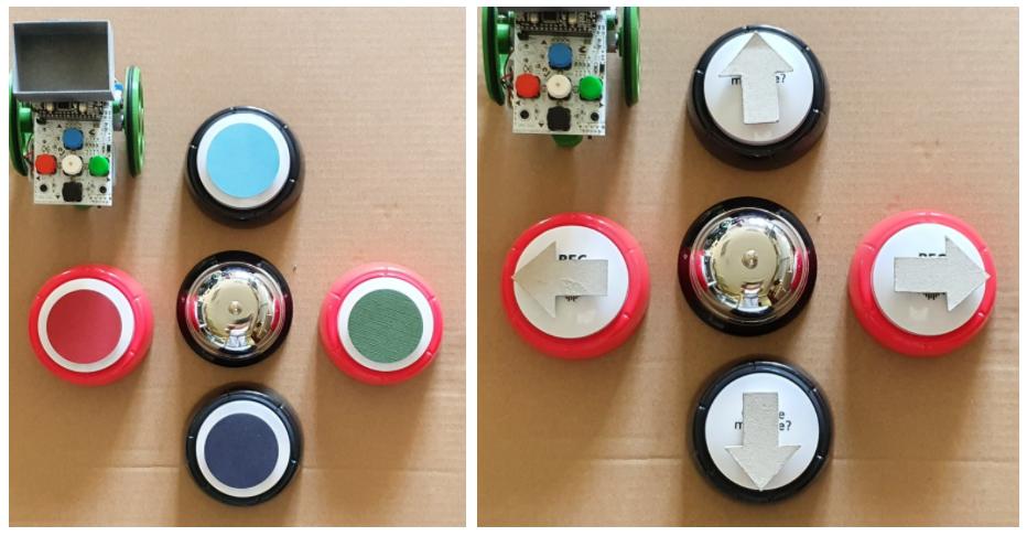 En la primera de las imágenes se ven cuatro pulsadores en forma de cruz y timbre en el centro. En cada pulsador, adheridos con velcro, se colocan círculos del mismo color de la botonera del robot. En la segunda imagen pueden verse cuatro pulsadores en forma de cruz y timbre en el centro. En cada pulsador, adheridos con velcro, se colocan flechas con las direcciones del robot.