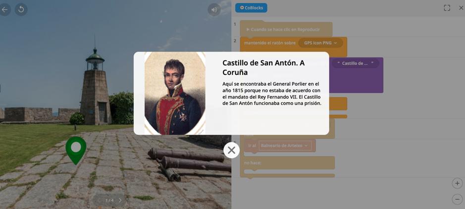 En la imagen se ve una imagen del General Porlier con el Castillo de San Antón de la Coruña de fondo. Se describe en un texto que relación tiene el General con este castillo